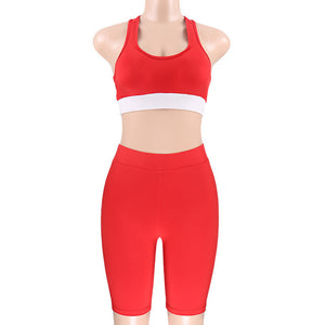 Women Clothing 2018 White Red Patchwork Sexy Crop Tank Tops Stretch Shorts Pants Bodycon Yoga Gym Sports Outfits Two Piece Set 3