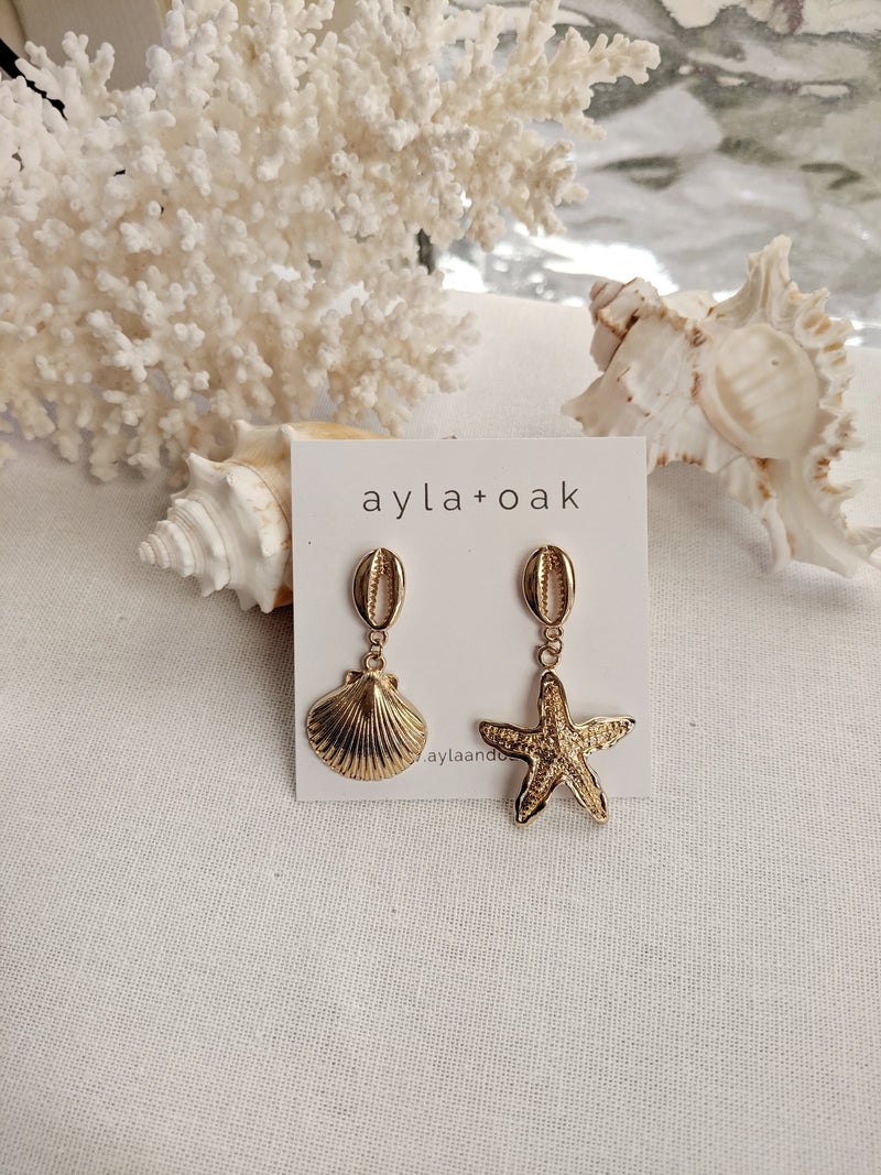 Starfish and Calico Earrings