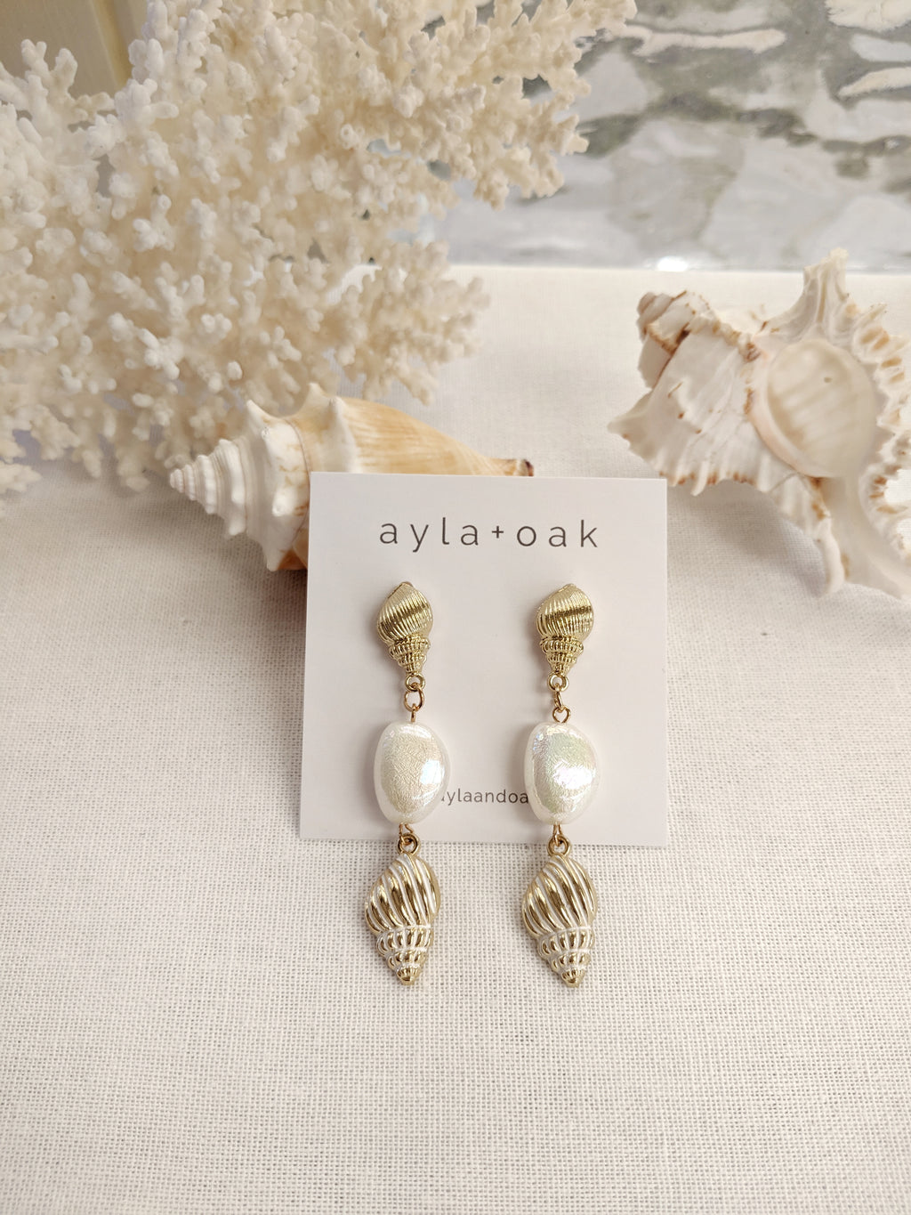 Conch and Pearl Earrings