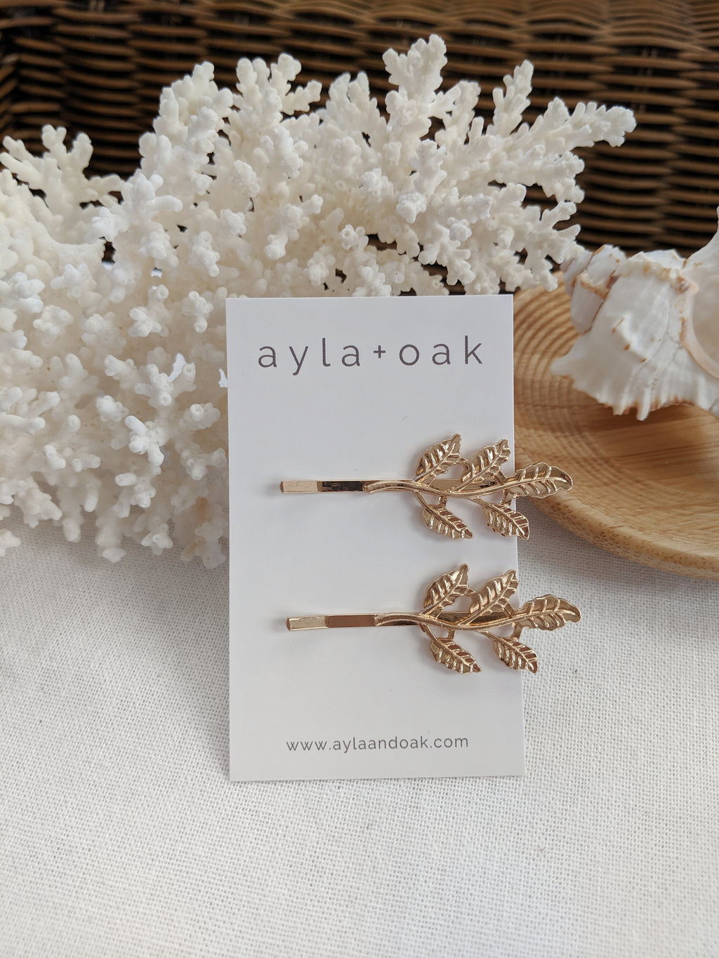 Gold Leaf Hair Clip Duo