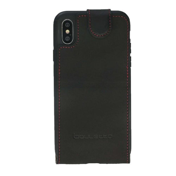 Flip Stand Leder Case Apple iPhone X / XS - Antic Black & Red