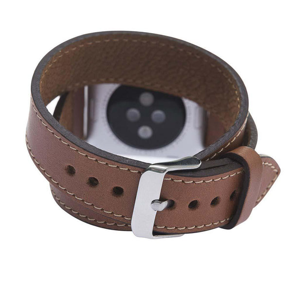 Double Tour Leder Horlogebandje Apple Watch 38mm / 40 mm - Rustic Tan