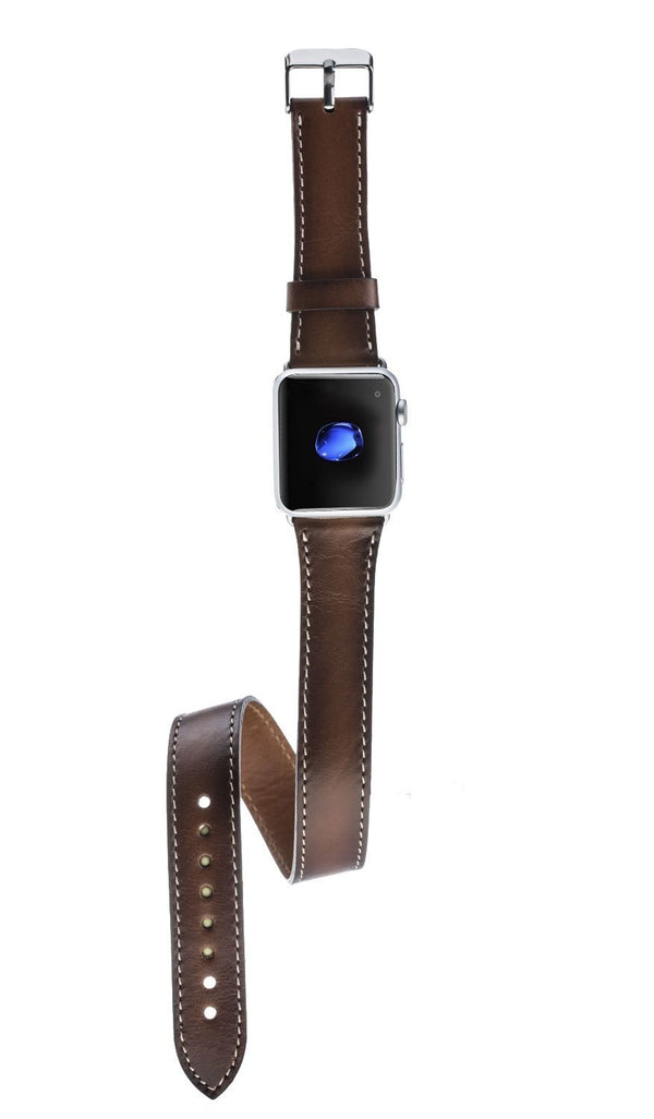 Double Tour Leder Horlogebandje Apple Watch 38mm / 40 mm - Rustic Tan met Effect