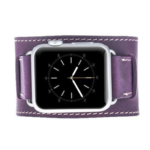 Leder Horlogebandje Apple Watch 38mm / 42 mm -  Antic Purple
