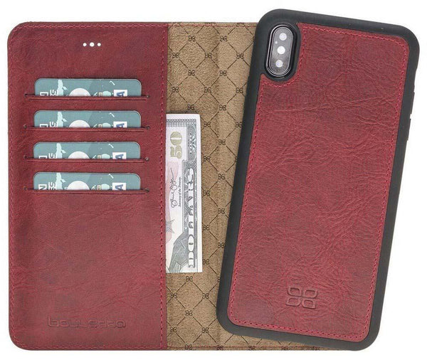 Magnetisch afneembaar Leder Wallet Case Apple iPhone XS Max - Vegetal Red
