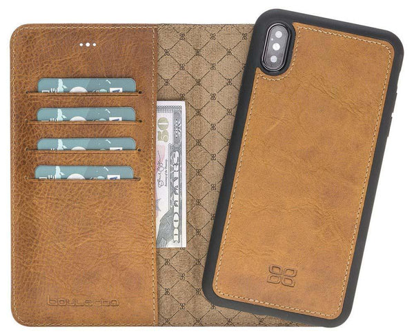 Magnetisch afneembaar Leder Wallet Case Apple iPhone XS Max - Vegetal Tan