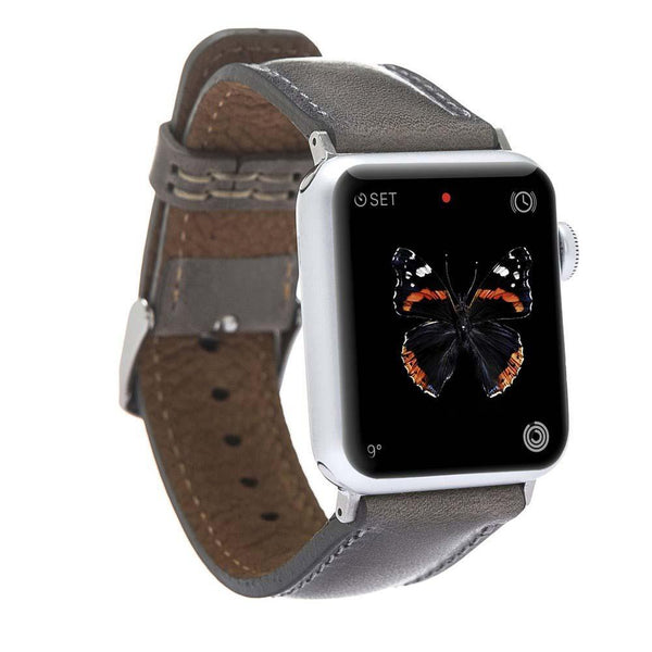 Leder Horlogebandje Apple Watch 42mm / 44 mm - Vegetal Grey