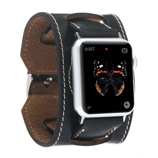Leder Horlogebandje Apple Watch 42mm / 44 mm - Vegetal Black