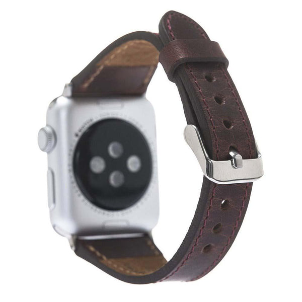 Leder Horlogebandje Apple Watch 42mm / 44 mm - Vegetal Bordeaux