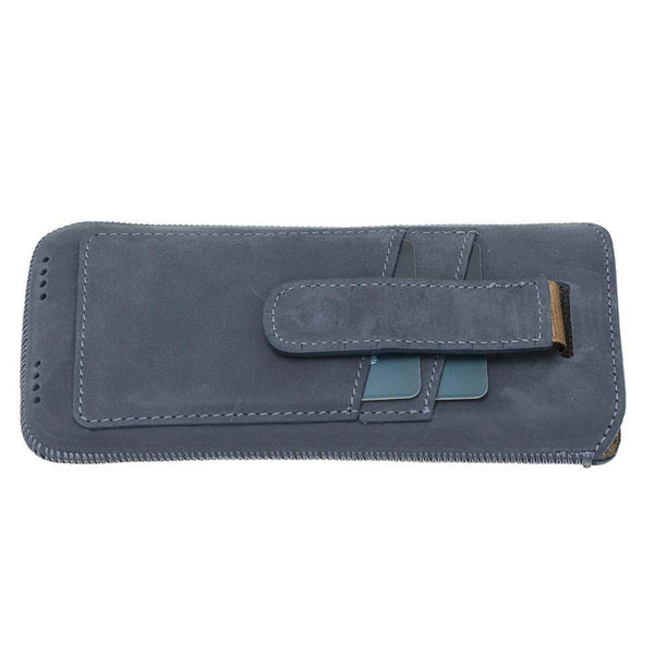 Insteekhoesje Leder Case met Card Holder iPhone XR - Antic Blue