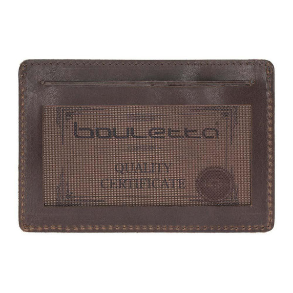 Functional Leder Credit Card Holder - Vegetal Dark Brown