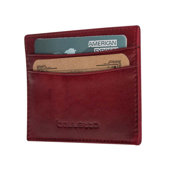 Leder Credit Card Holder - Vegetal Burnished Red