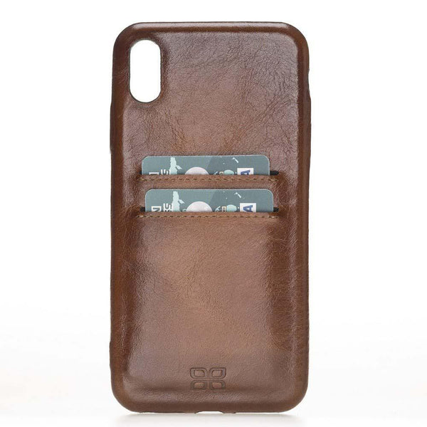 Leder Ultra Cover met Card Holder Apple iPhone XS Max - Rustic Burnished Tan