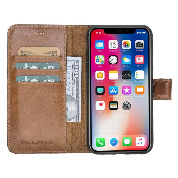 Magnetisch afneembaar Leder Wallet Case Apple iPhone XR - Rustic Burnished Tan met Effect