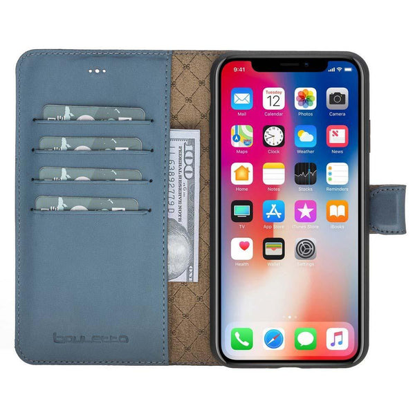 Magnetisch afneembaar Leder Wallet Case Apple iPhone XS Max - BRN Burnished Navy Blue