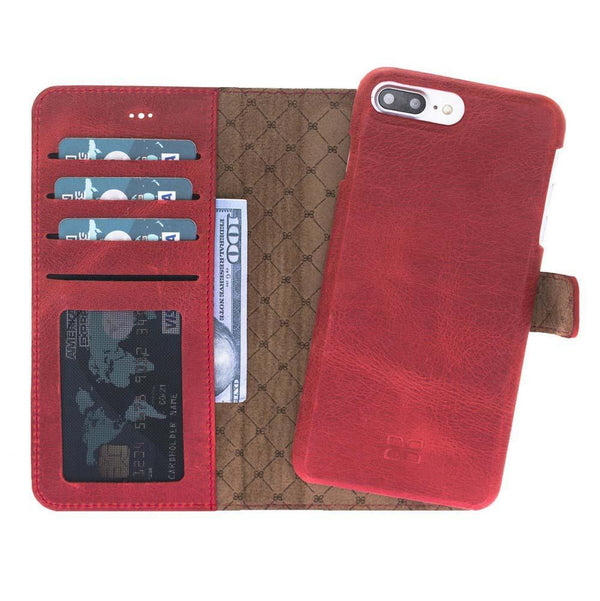 F360 Magnetisch afneembaar Leder Wallet Case Apple iPhone 7 Plus / iPhone 8 Plus - Rome Red