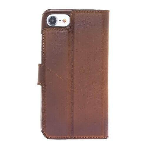 F360 Magnetisch afneembaar Leder Wallet Case Apple iPhone 7 / iPhone 8 - Rustic Burnished Tan