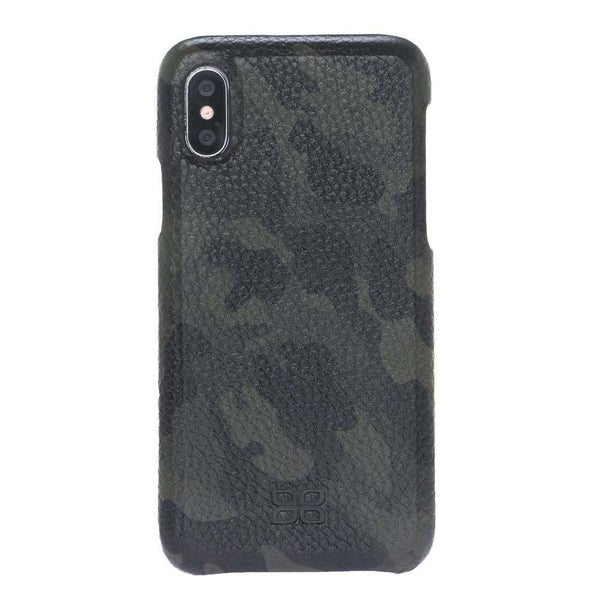 F360 Leder Back Cover Case Apple iPhone X/XS - Camouflage Green