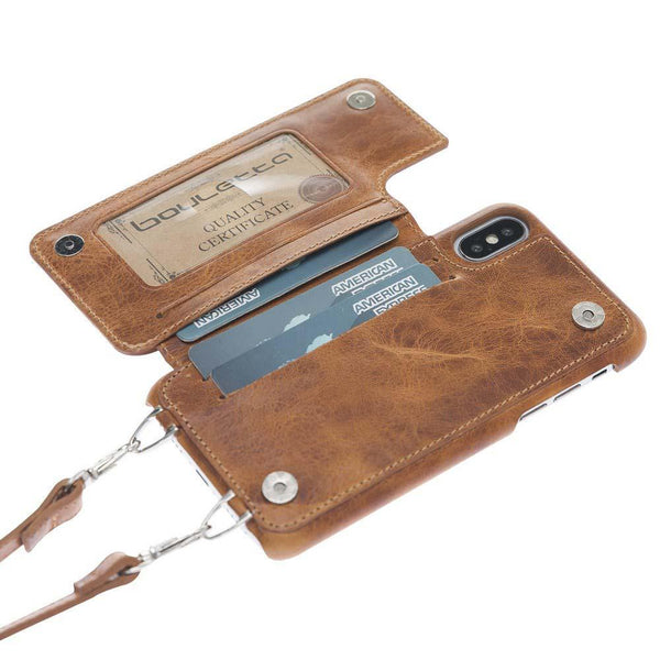 Saff Ultimate Wallet Case met Shoulder Strap Apple iPhone X/XS in Vegetal Tan met Vein