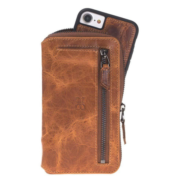 Pouch Magnetisch afneembaar Leder Wallet Case Apple iPhone 7 / 8 in Vegetal Tan