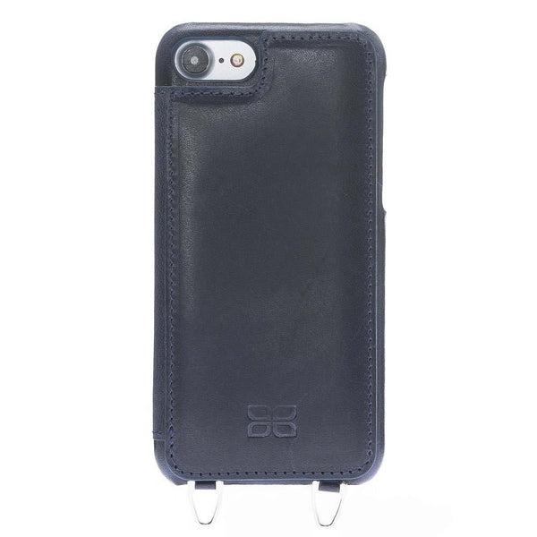 Saff Ultimate Wallet Case met Shoulder Strap Apple iPhone 7 / 8 - Vegetal Dark Blue