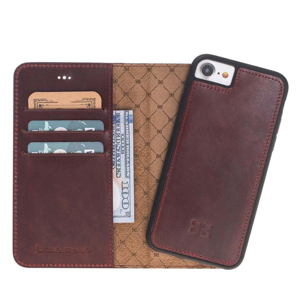 Magnetisch afneembaar Leder Wallet Case Apple iPhone 7 / 8 in Vegetal Bordeaux