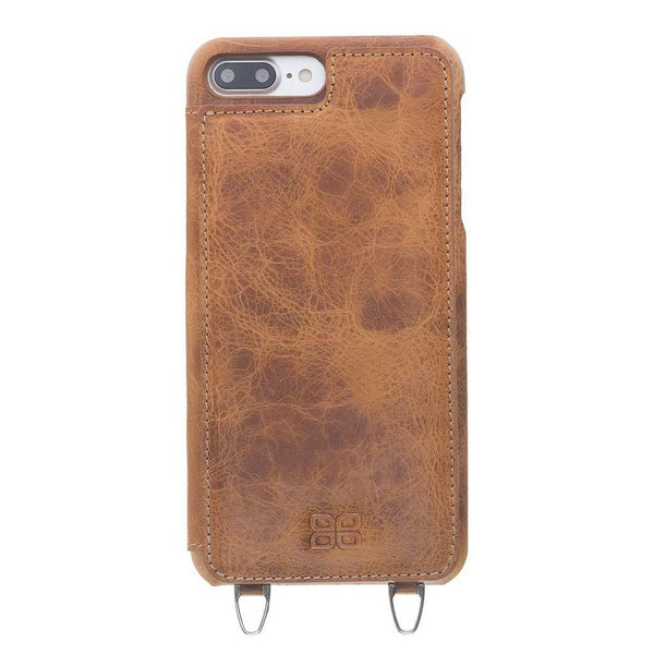 Saff Ultimate Wallet Case met Shoulder Strap Apple iPhone 7 Plus / 8 Plus in Vegetal Tan met Vein