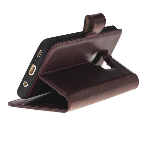 Magnetisch afneembaar Leder Wallet Case Samsung Galaxy S9 in Vegetal Bordeaux