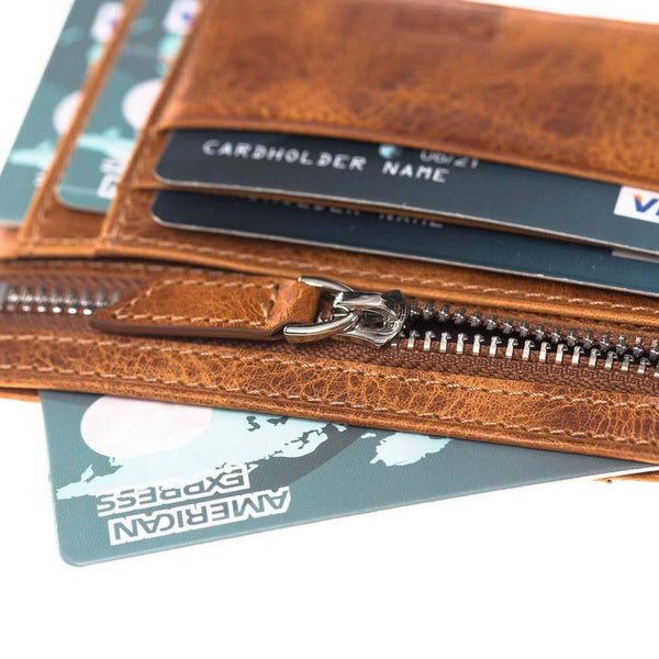 Classic Slim Leder Credit Card Wallet met Zipper in Vegetal Tan met Vein