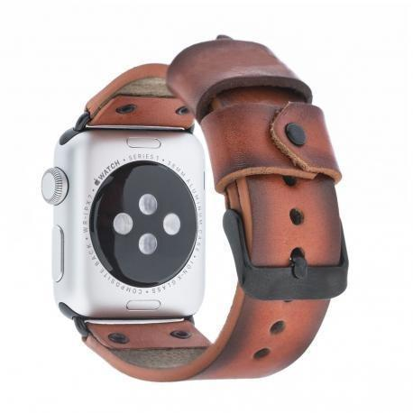 Leder Horlogebandje Apple Watch 42mm / 44mm - Vegetal Orange Effect