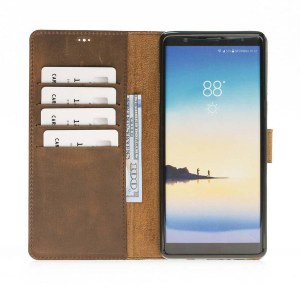 Wallet Folio Leder Case met ID gleufje Samsung Galaxy Note 8 - Antic Brown