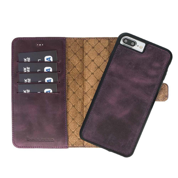 Magnetisch afneembaar Leder Wallet Case Apple iPhone 7 Plus /8 Plus -  Antic Purple
