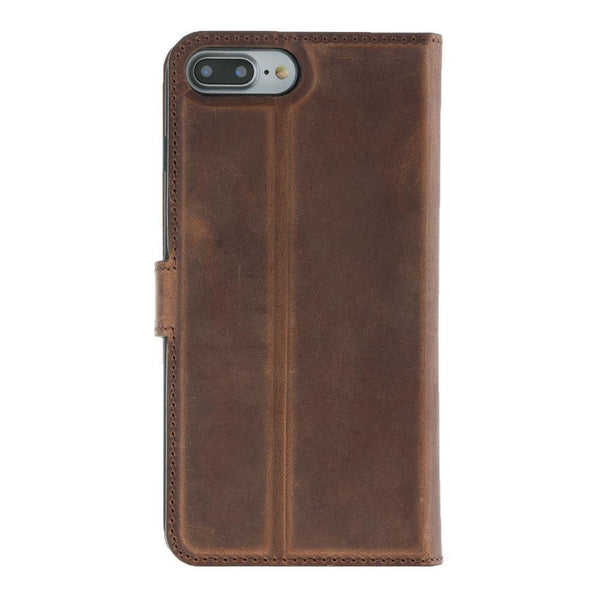 Magnetisch afneembaar Leder Wallet Case Apple iPhone 7 Plus / 8 Plus -  Antic Brown