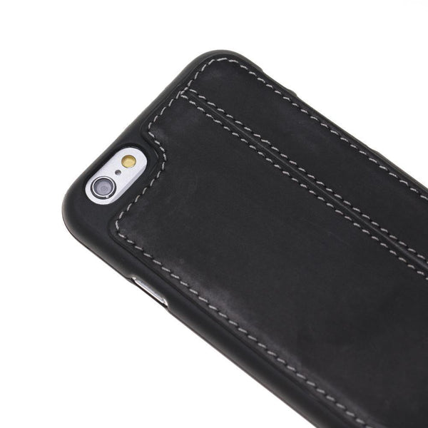 Flex Back Cover Leder Case Apple iPhone 6 Plus / 6s Plus - (White Sewing) Antic Black