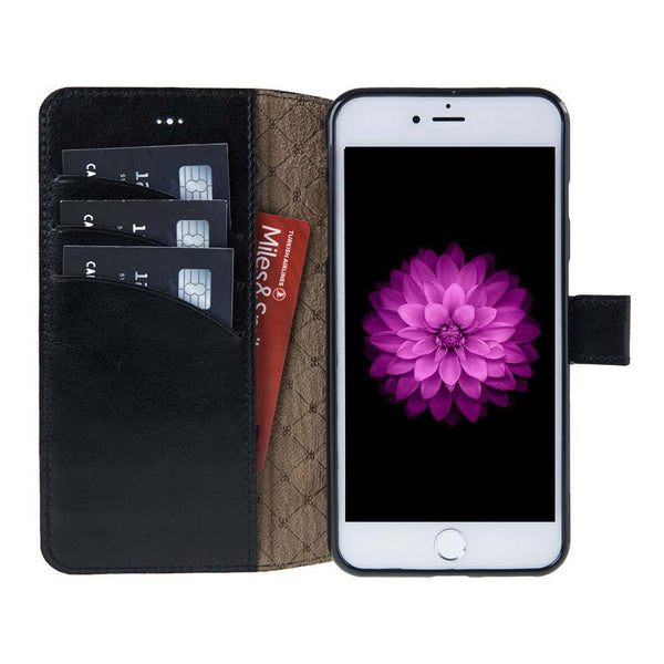 Wallet Folio Leder Case met ID gleufje Apple iPhone 7 Plus / 8 Plus - Rustic Black