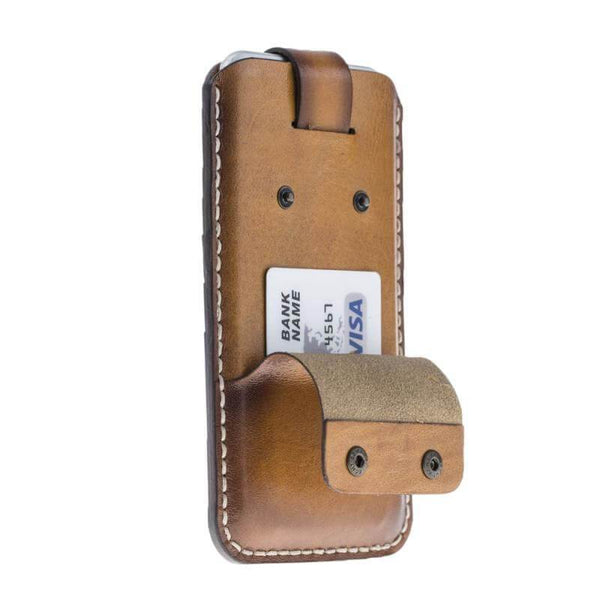 Vintage Leder Pouch Phone Case met Card Holder iPhone 7/8 Plus - Vegetal Burnished Tan