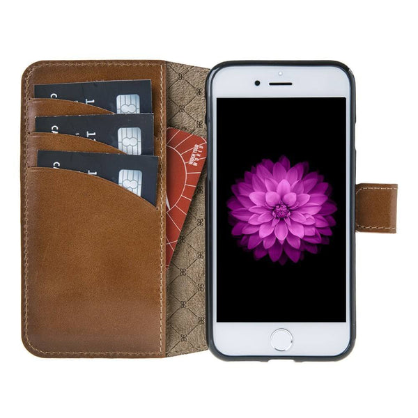 Wallet Leder Case New Edition met ID gleufje Apple iPhone 7 - Rustic Burnished Tan
