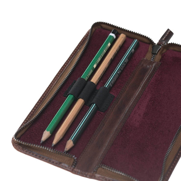 Tale Leder Pencil Case - Vegetal Bordeaux