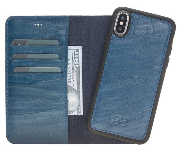 Magnetisch afneembaar Leder Wallet Case Apple iPhone X/XS - Creased Blue