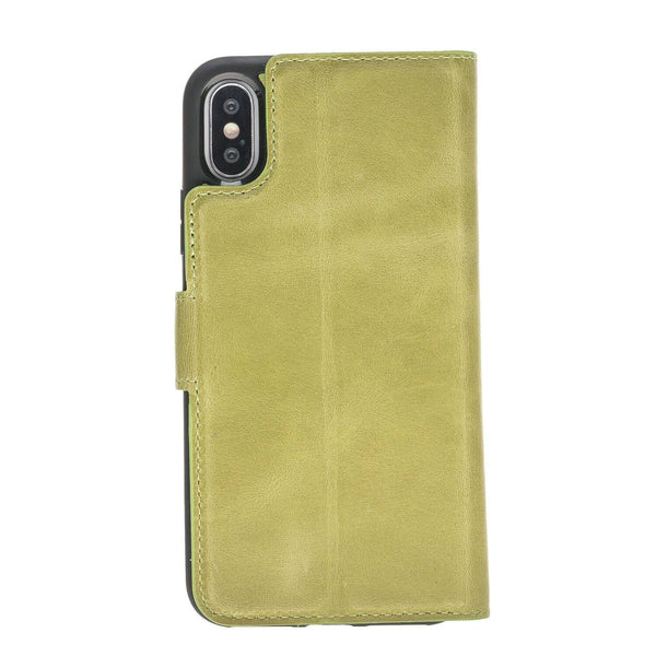 Magnetisch afneembaar Leder Wallet Case Apple iPhone X/XS - Crazy Green