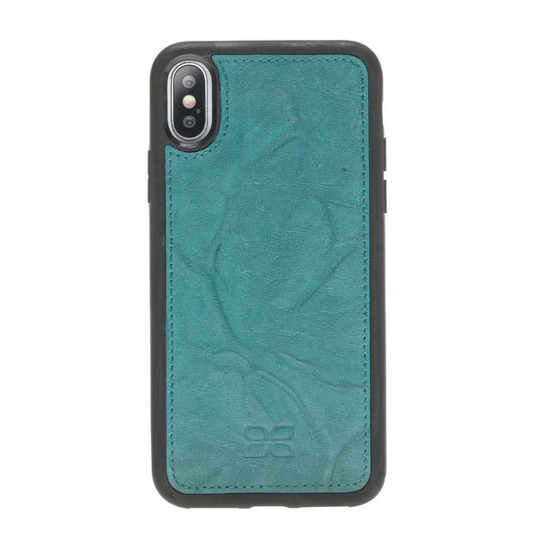 Magnetisch afneembaar Leder Wallet Case Apple iPhone X/XS- Creased Turquoise