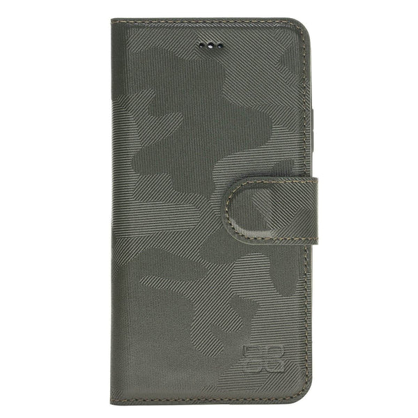 Magnetisch afneembaar Leder Wallet Case Apple iPhone X/XS - Camouflage Green
