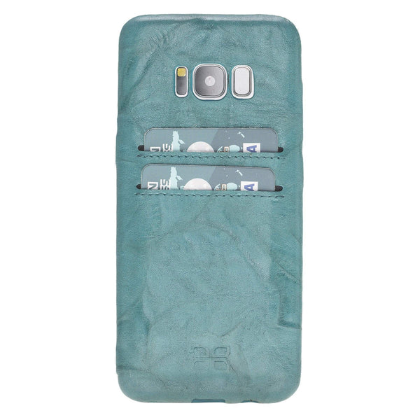 Leder Ultra Cover met Credit Card gleufjes Samsung S8  - Creased Turquoise