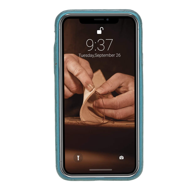 Leder Ultra Cover met Credit Card gleufjes Apple iPhone X/XS - Creased Turquoise