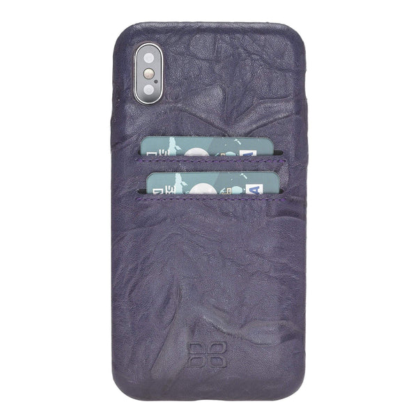 Leder Ultra Cover met Credit Card gleufjes Apple iPhone X/XS - Creased Purple