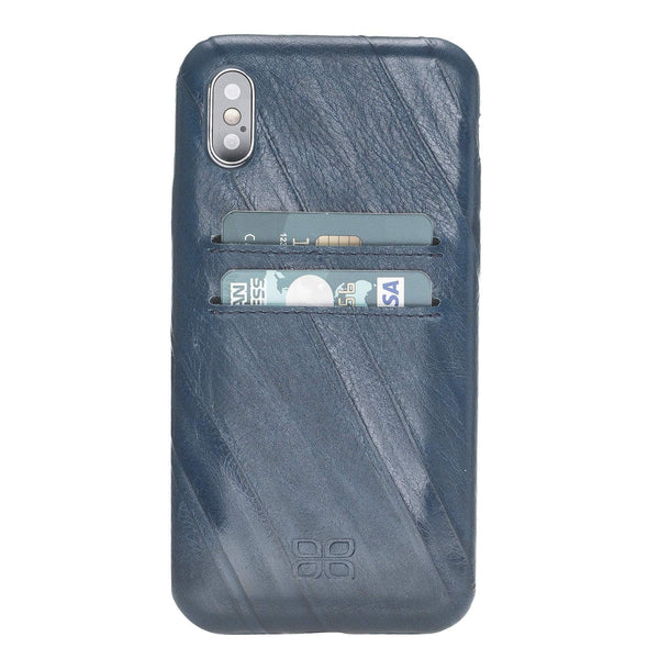 Leder Ultra Cover met Credit Card gleufjes Apple iPhone XS - Creased Blue