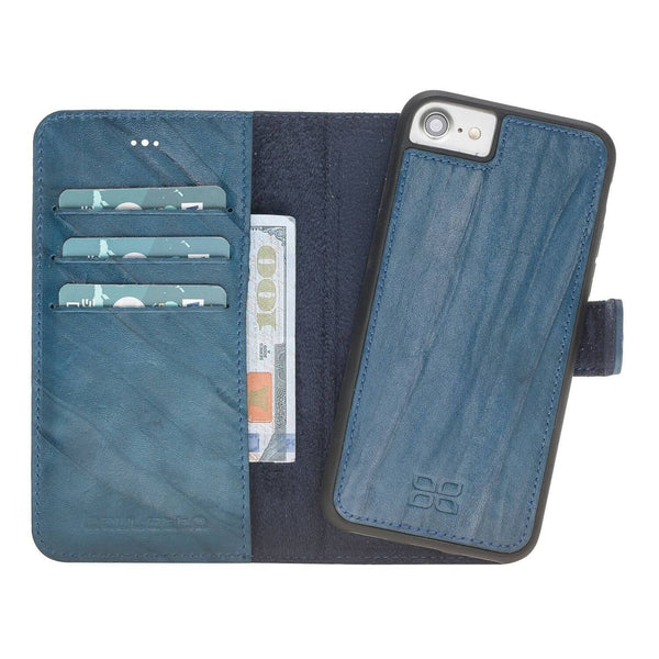 Magnetisch afneembaar Leder Wallet Case Apple iPhone 8- Creased Blue