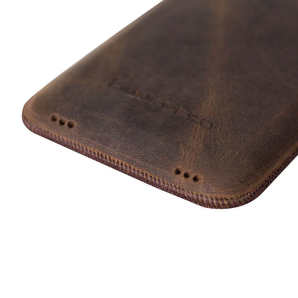 Insteekhoesje Leder Case iPhone XR - Antic Brown