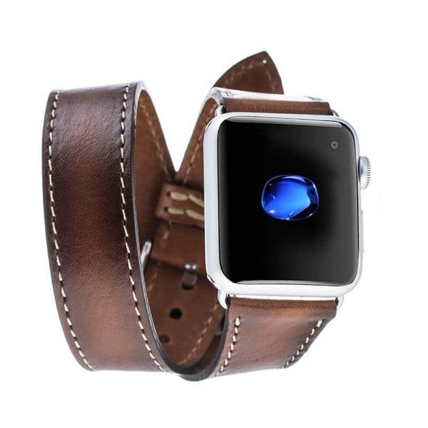 Double Tour Leder Horlogebandje Apple Watch 42mm / 44mm - Rustic Tan met Effect