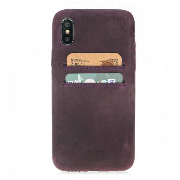 Ultra Genuine Leder Mobile Phone Cover met Card Holder Apple iPhone X / XS - Antic Purple